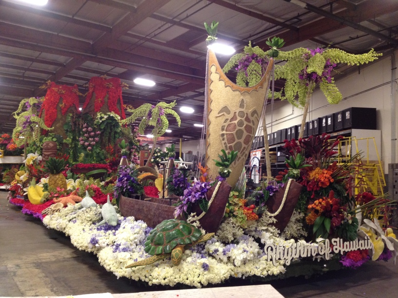 The night before the judging. Finished beautiful float.