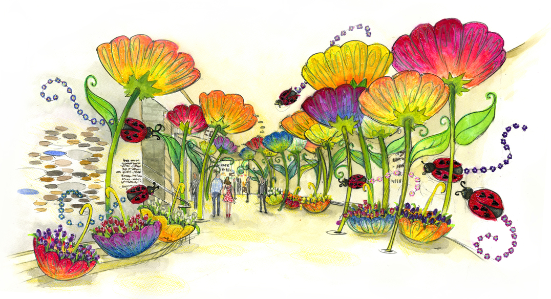 Umbrellas of Flowers in the Epping Gallery  Color
