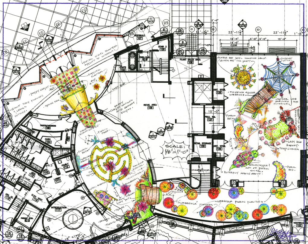 "Cleveland Botanical Garden Spring Color Plan View 1/8""=1'-0"""