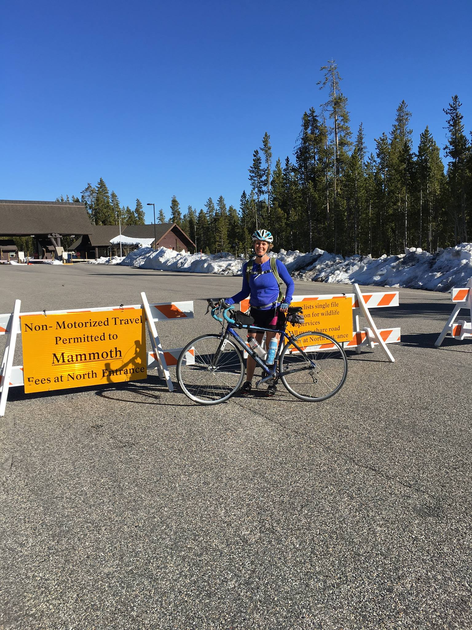 Suzanne At the Yellowstone Park North entrance.