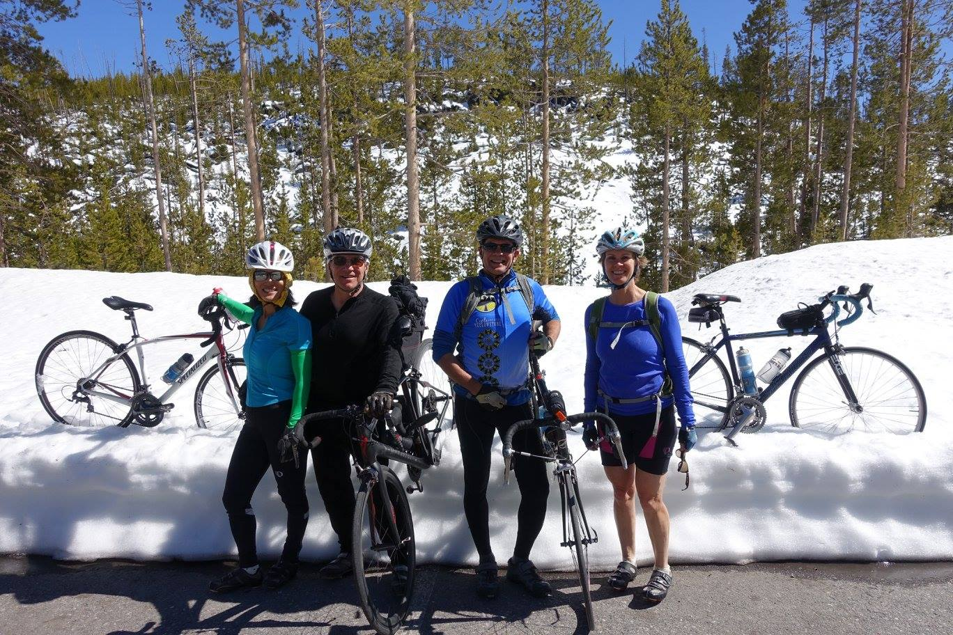 Mia, Cutris,Suzanne and Jim Albano are pumped for their spring ride in Yellowstone!