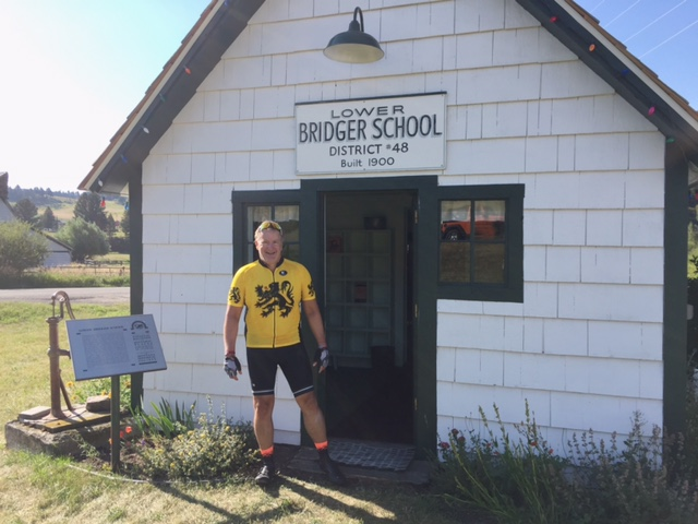 John Murphy at Lower Bridger School - an old one room school house along Bridger Canyon Road into Bozeman.