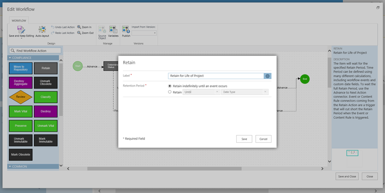 Manage in-place records or archive records to the Records Center using Collabware CLM lifecycle workflow.
