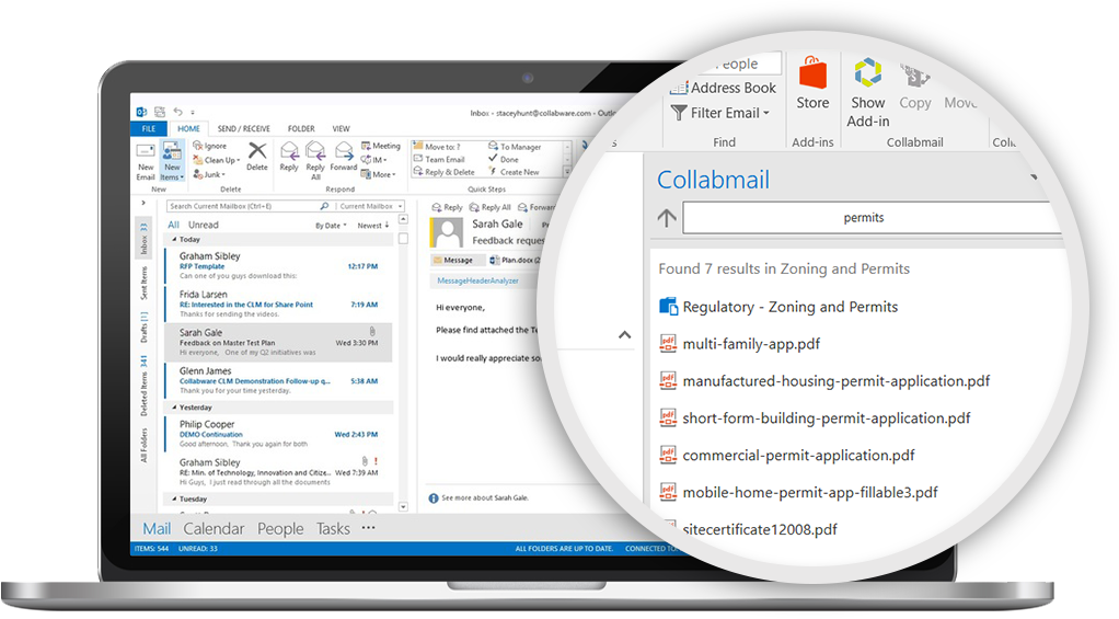 Collabmail Email Management connecting Outlook to SharePoint.