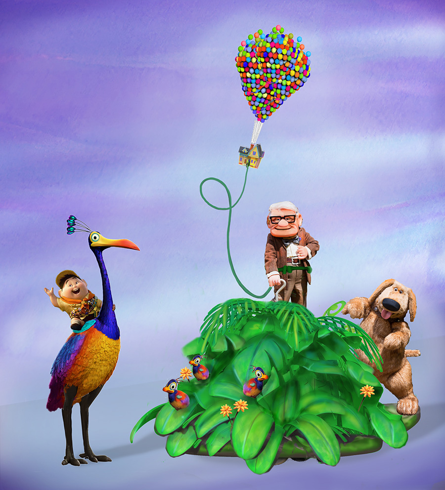 """Also joining the parade are characters from the beloved film, """"Up."""" Wilderness Explorer Russell will appear astride the colorful flightless bird, Kevin, with Carl Fredricksen and Dug following behind amid green foliage and snipe chicks, with Carl's tethered house floating above."""
