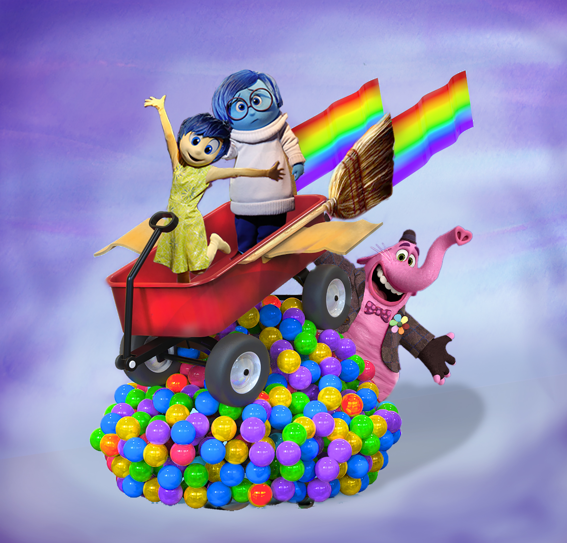 """Another popular Pixar story coming to Pixar Play Parade is """"Inside Out."""" Perched atop colorful memory orbs, Joy and Sadness take flight aboard Bing Bong's rocket wagon, with Bing Bong himself cheering them on!"""
