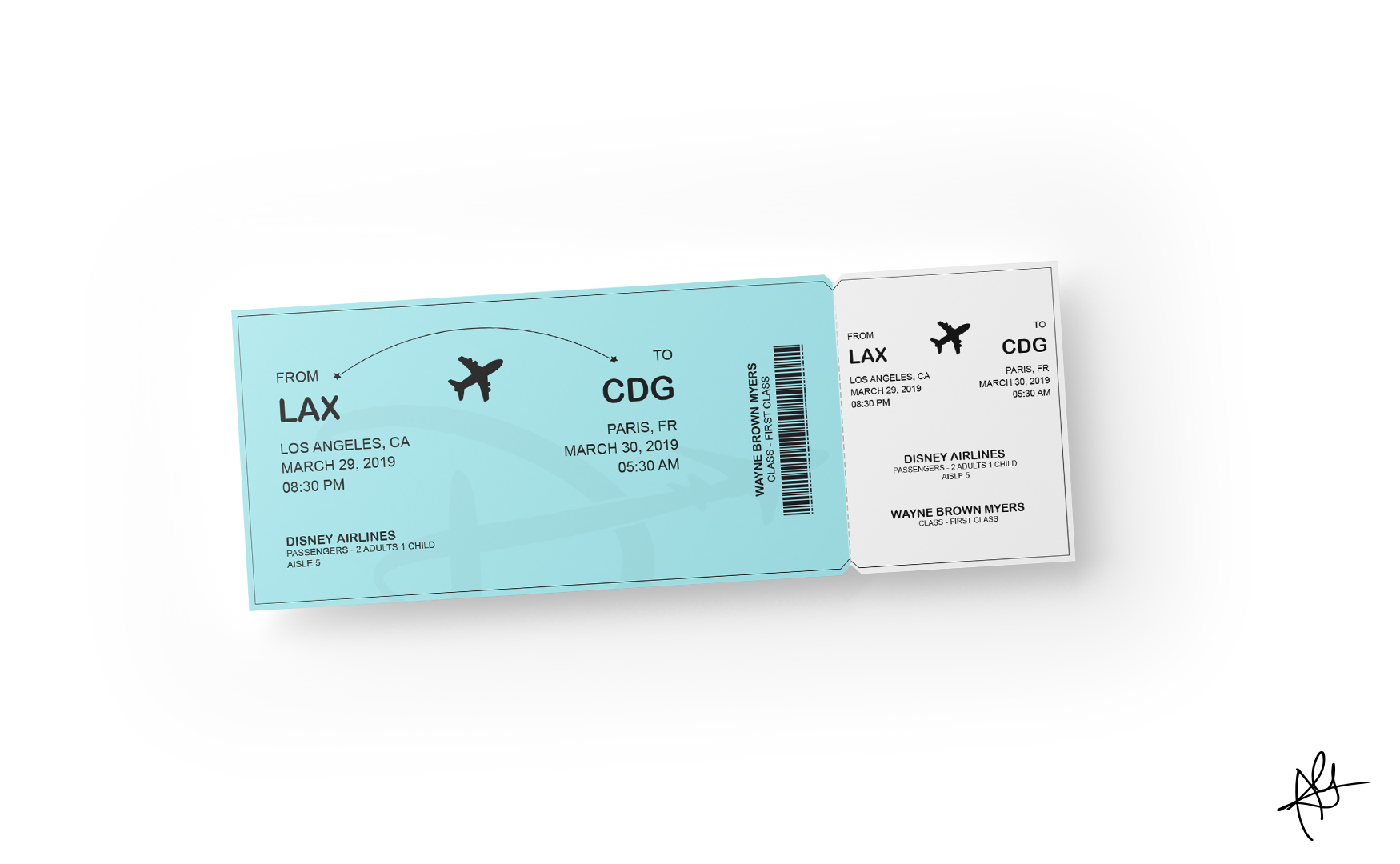 DISNEY AIRLINES CAMPAIGN - FLIGHT TICKET MOCKUP
