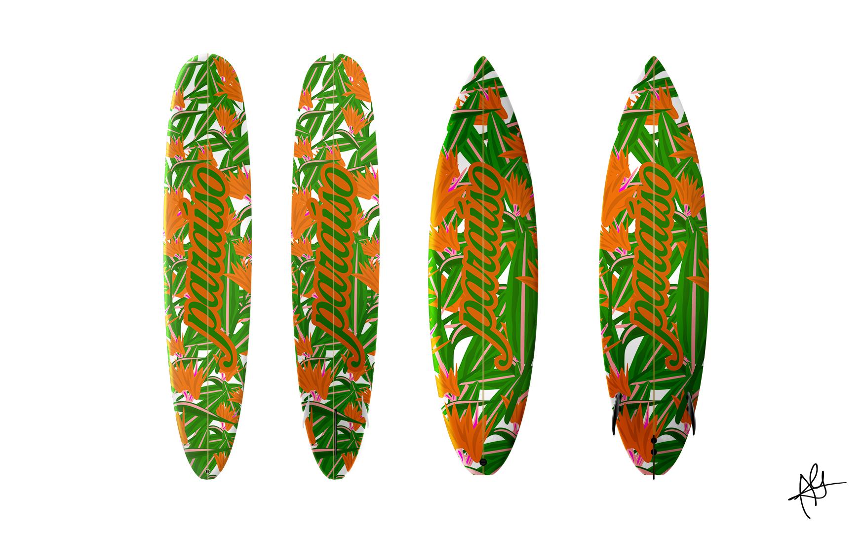 PARAÍSO SKATE/SURF CO. SURFBOARD MOCKUPS