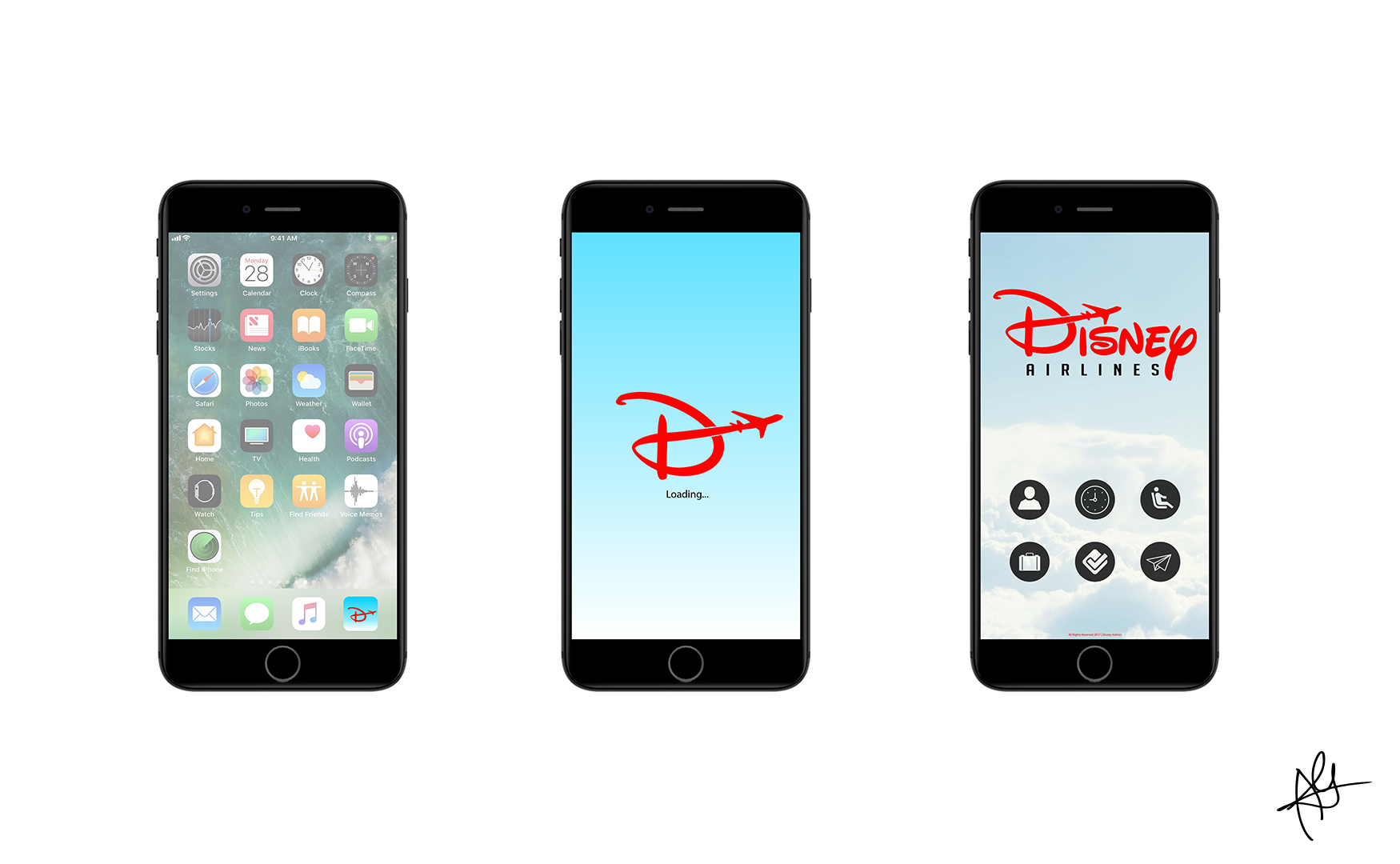 DISNEY AIRLINES CAMPAIGN - MOBILE APP MOCKUP