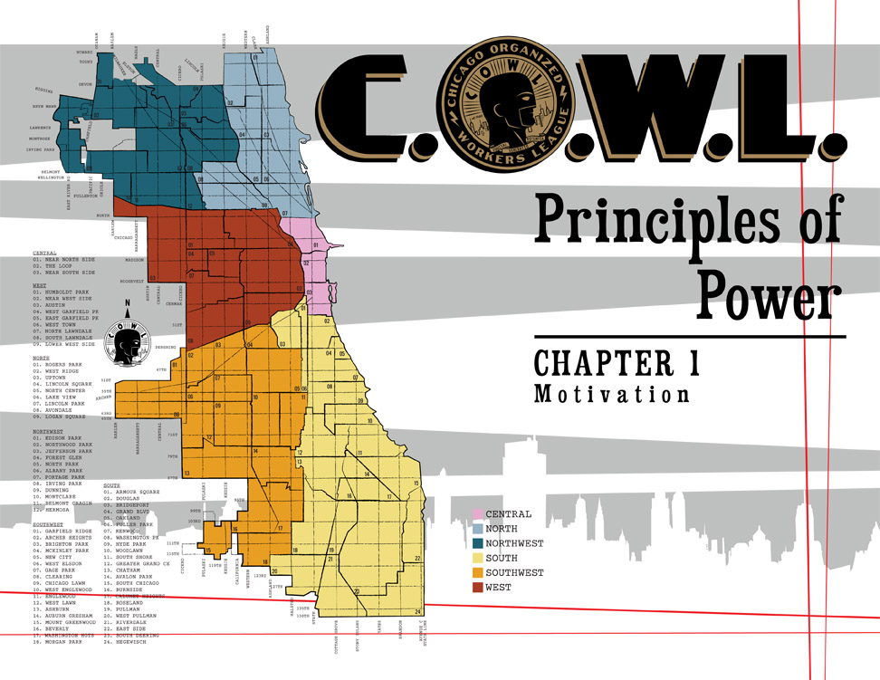 C.O.W.L. Title Page. Full design and illustration