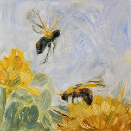2 Bees, Yellow Flower