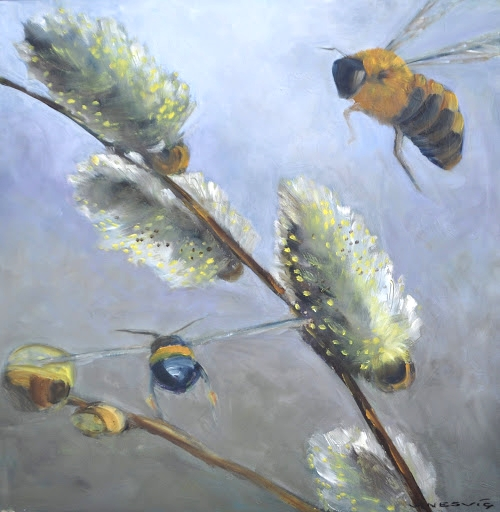 Bees and Pussy Willow