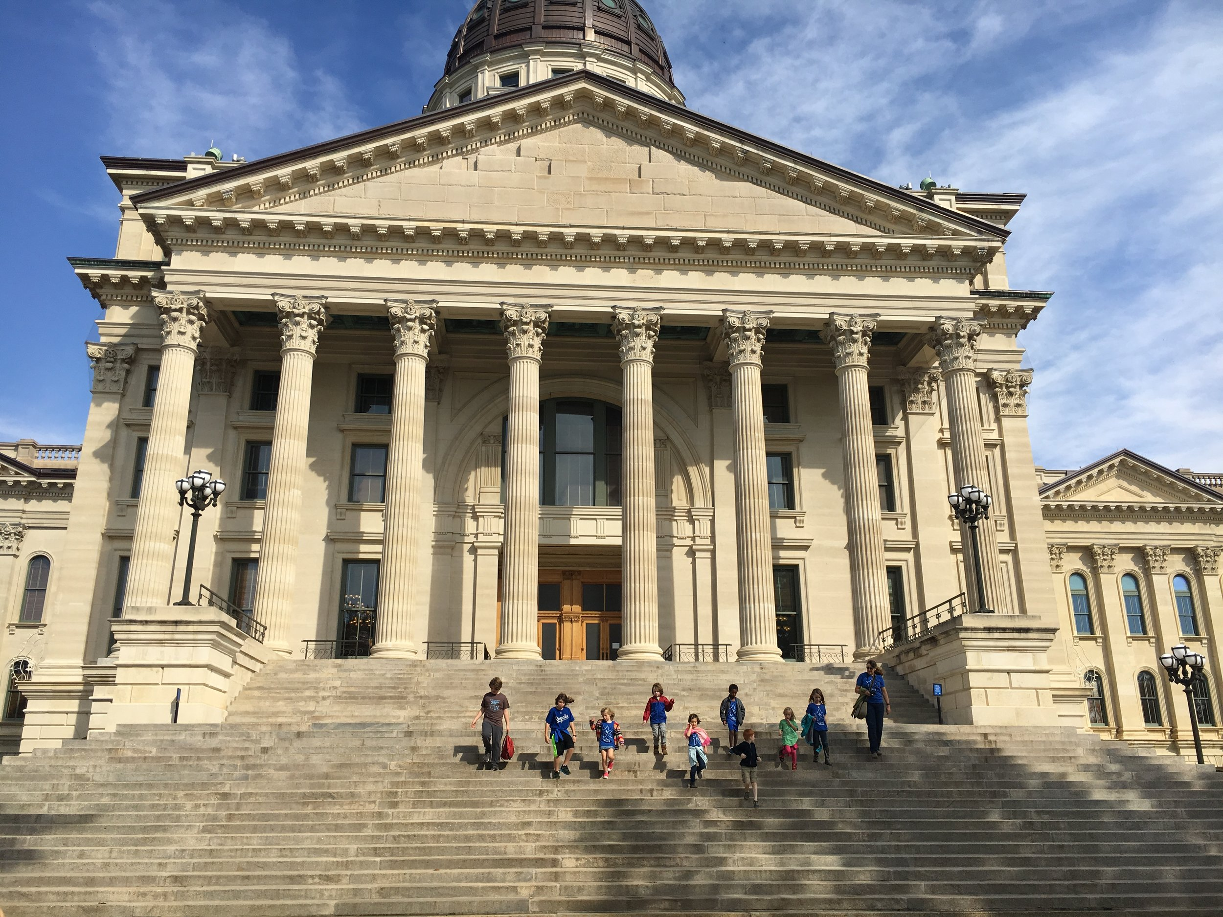 Students visit the Topeka State Capitol. CS#1 makes the Kansas City community an extension of the classroom, with over 30 field trips per year!