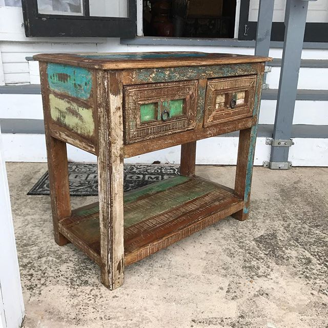 New Distressed accent table. Call for info 979-877-8344 #distressedfurniture #vintagelook #rusticchic #rusticdecor
