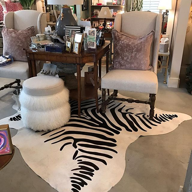 Zebra inspired Cow hide-- come see us at Red Potato Show in Simonton, Tx this weekend! #cowhide #cowhides #redpotatoshow #redpotatomarket