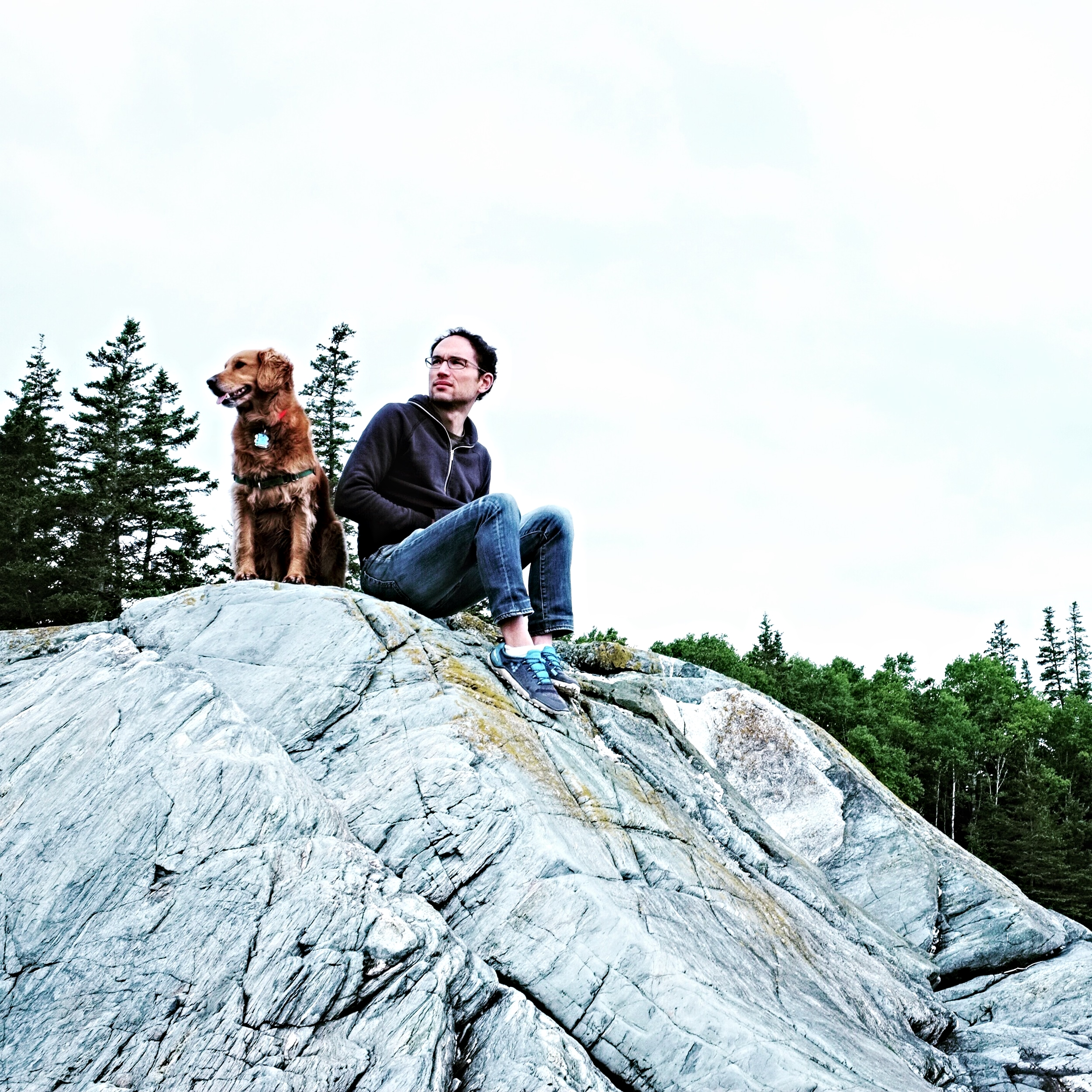 Adam and Elsie taking a break at Sylvester's Cove in Deer Isle.