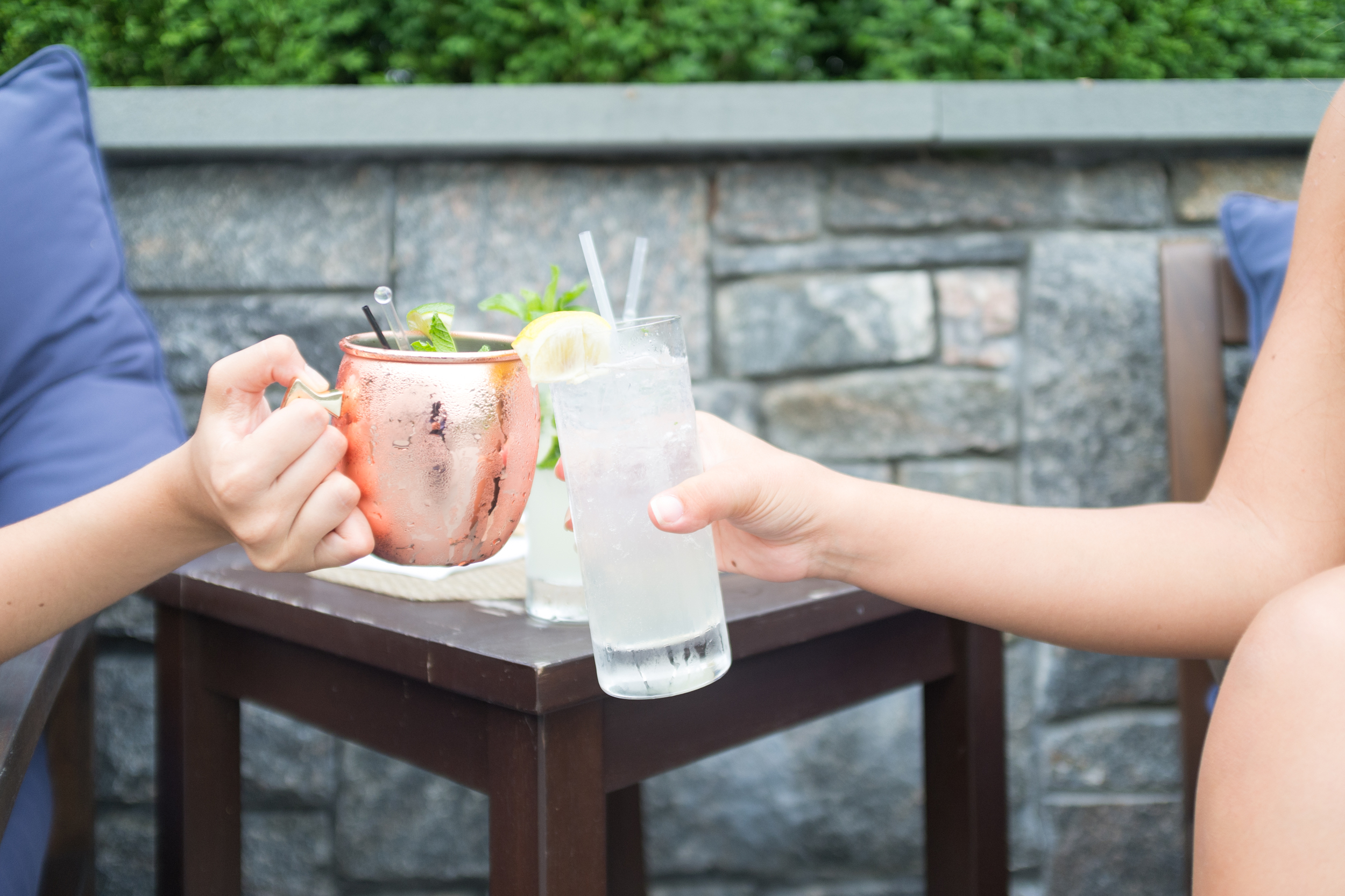Cheers! Cocktails on the lawn at the Kemble Inn in Lenox, MA