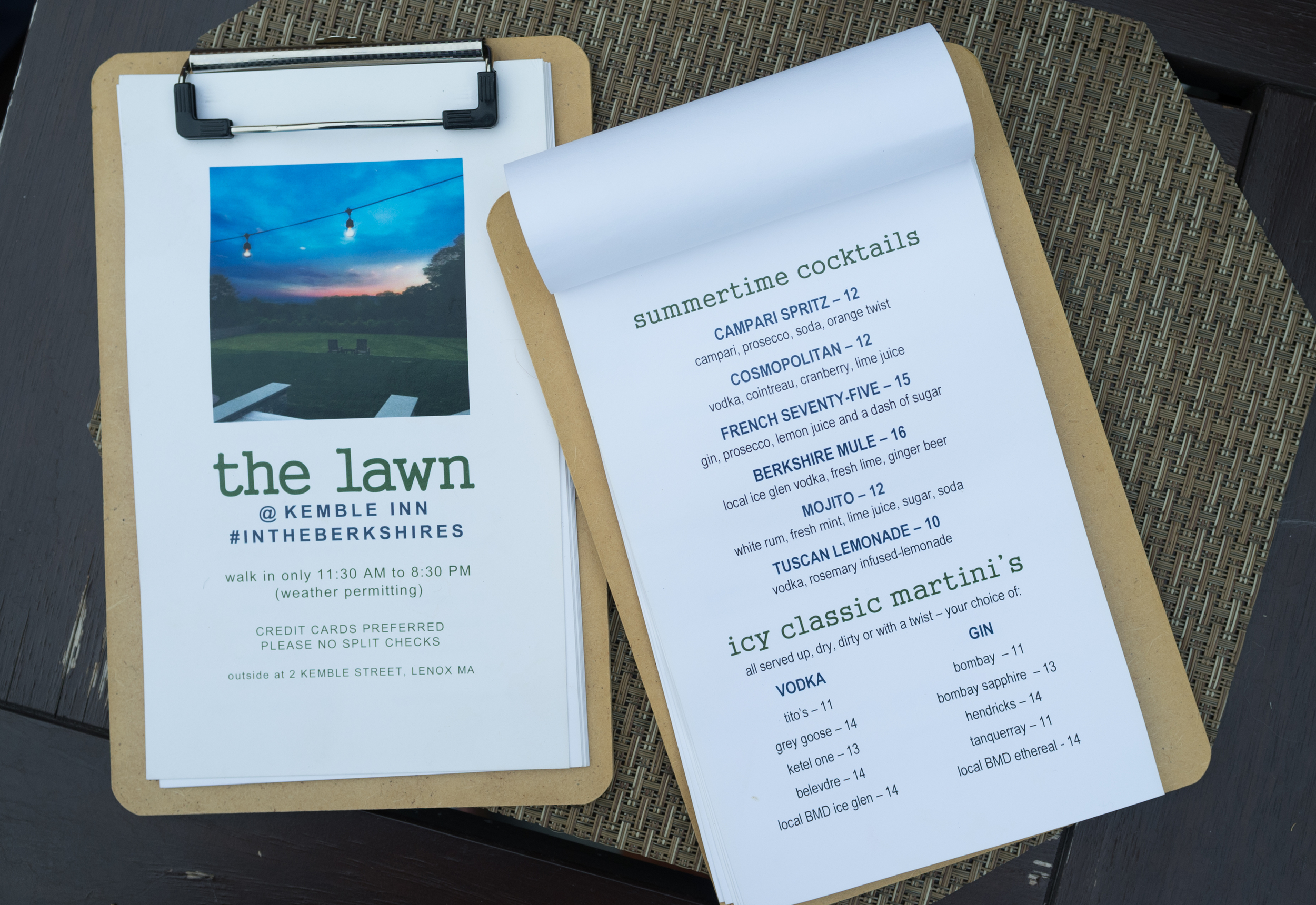 The summer cocktail menu at the Kemble Inn in Lenox, MA.