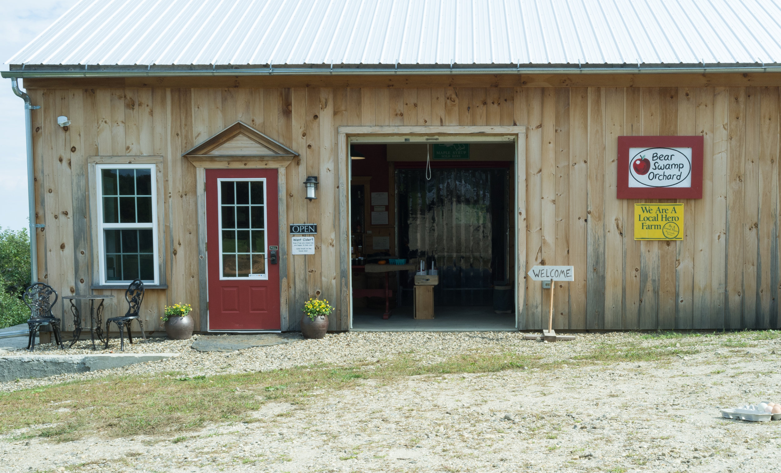 The cider tasting room and orchard welcome center.