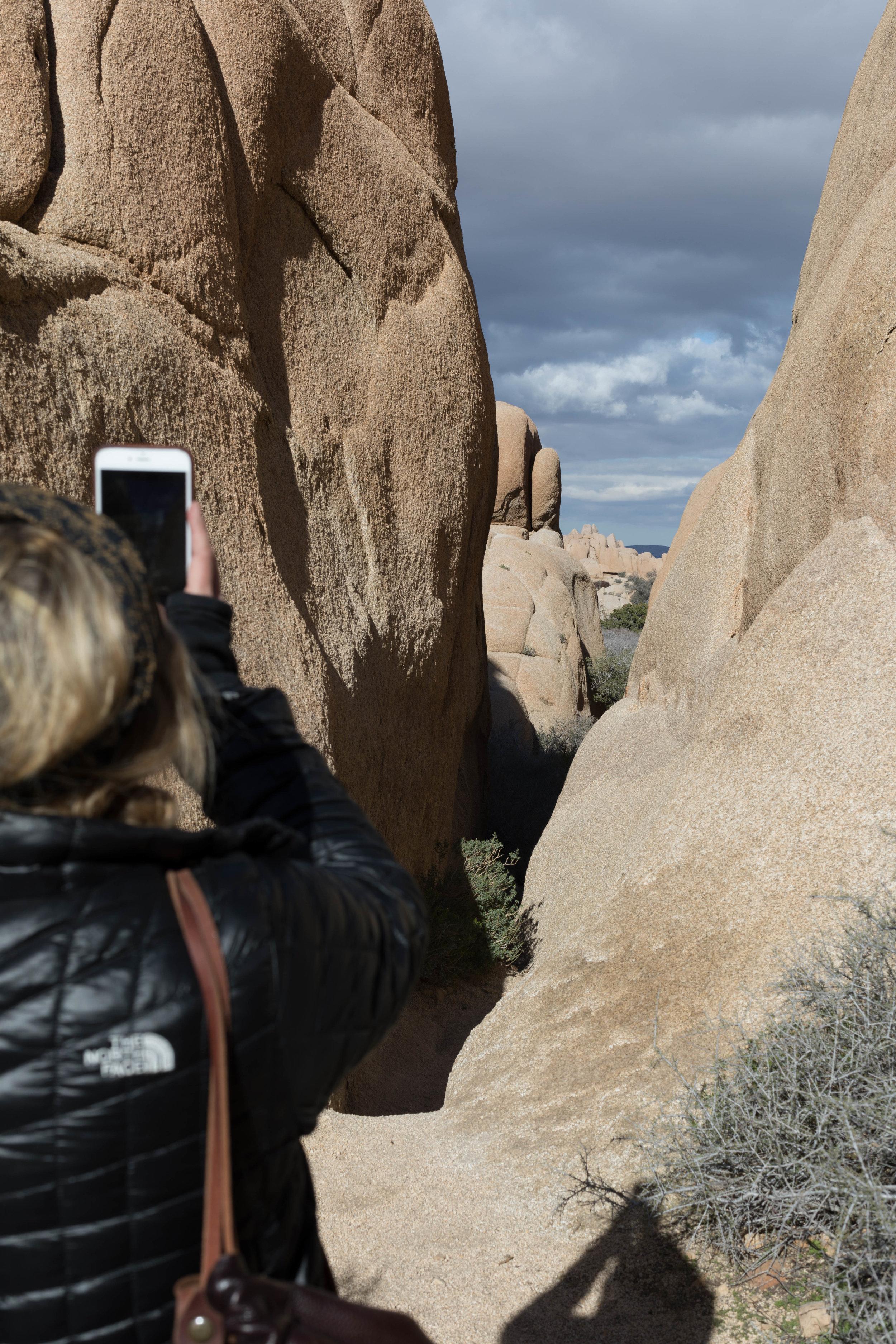 April taking a photo at Jumbo Rocks