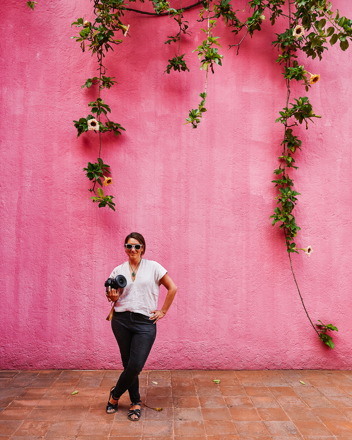 Photo by Nicole Beck. I love this pink wall at Casa Luis Barragan