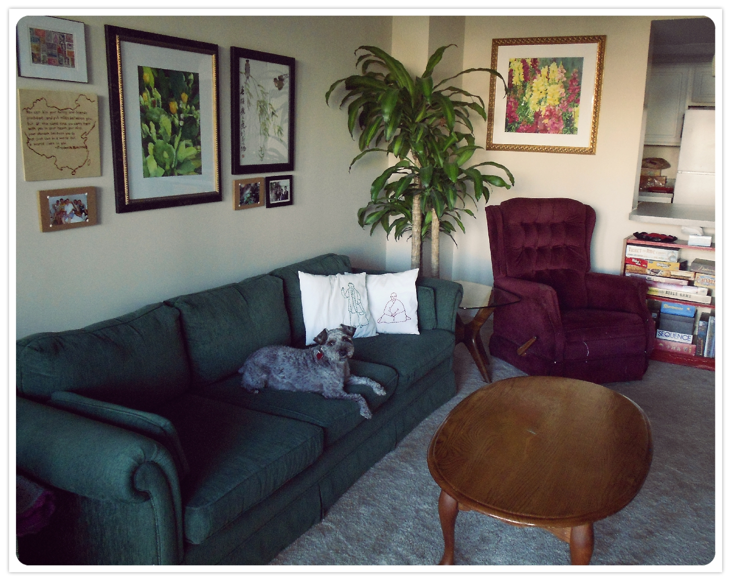 Our throw pillows and wall art were handmade by friends or family and furniture runs the gamut of secondhand sources (Craigslist, yard sale, community sale, gifts). T-dog long ago claimed the entire couch as his own.