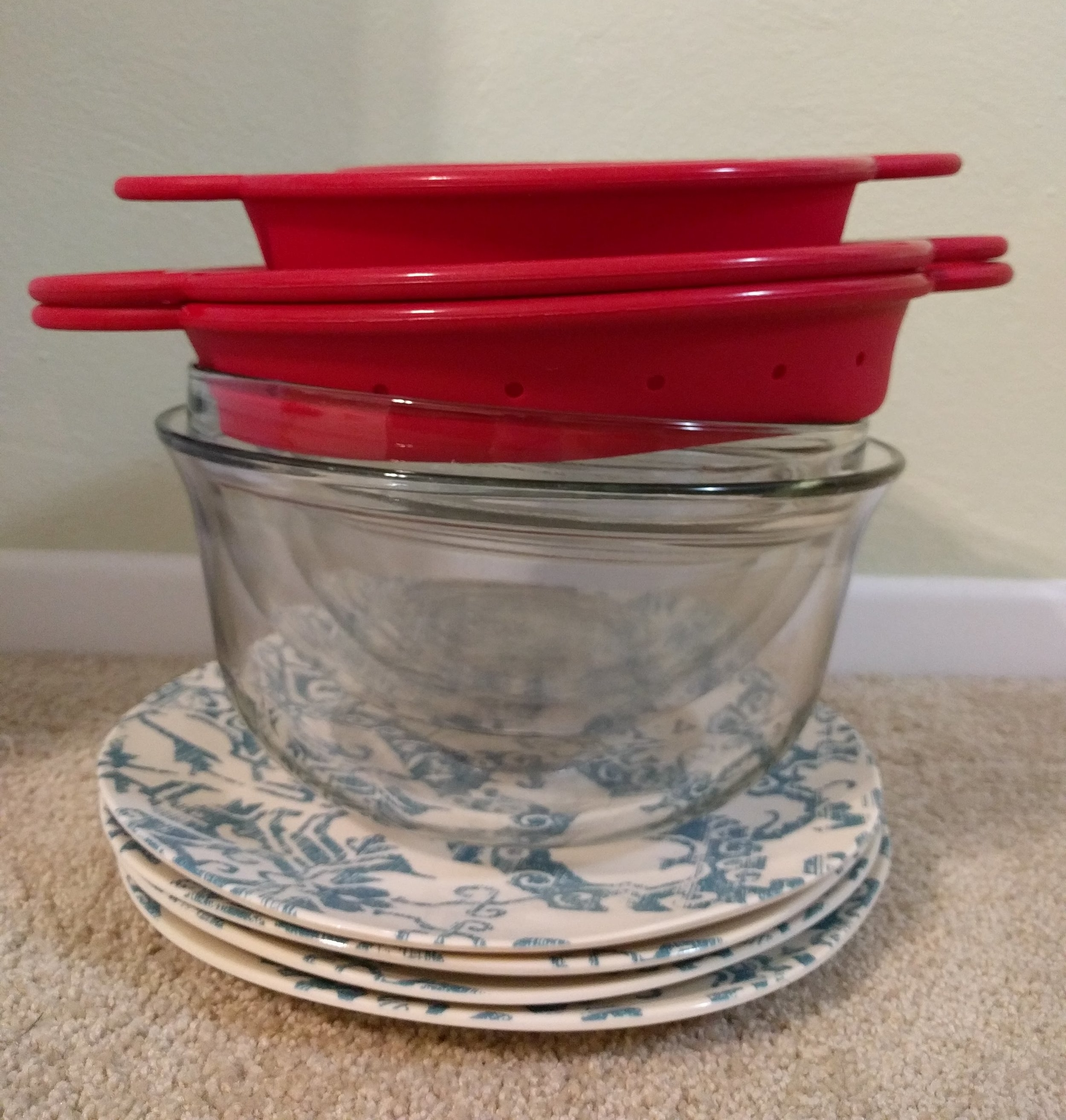 I decided I needed a new mixing bowl. So at the half price sale at Goodwill this month I purchased three mixing bowls, two collapsible mixing bowls, two strainers, and four plates. Yep. Cause' that makes sense...