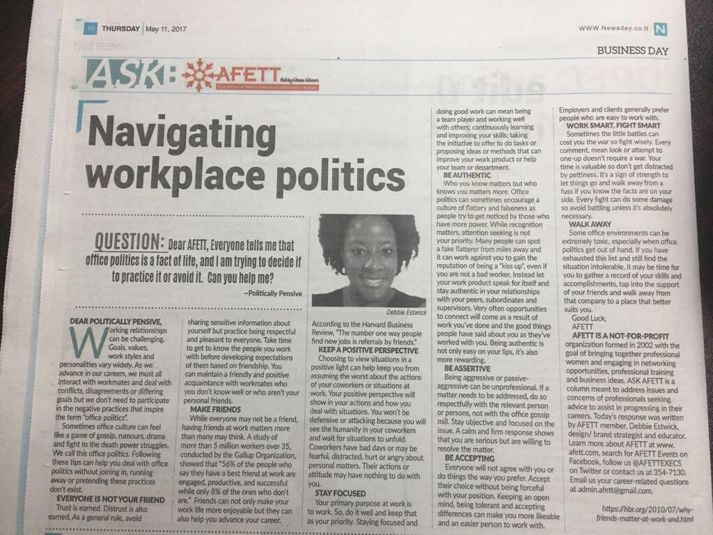 Navigating Workplace Politics Debbie Estwick article