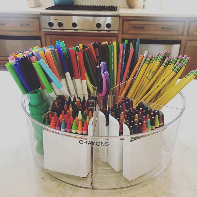 """Tired of hearing """"mom, I'm board"""" you can do what I do and offer up some chores to cure their boredom OR make a fun art kit, with a clear divided turntable from @thecontainerstore. Easy to clean up and stash in a cabinet or closet!!. #organization #saorganizer #organizedbysarah #professionalorganizer #kids #kidsart #summertime #summertimeactivity"""
