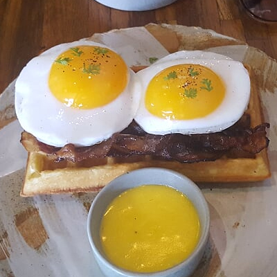 duck egg waffle at Locavore.jpg