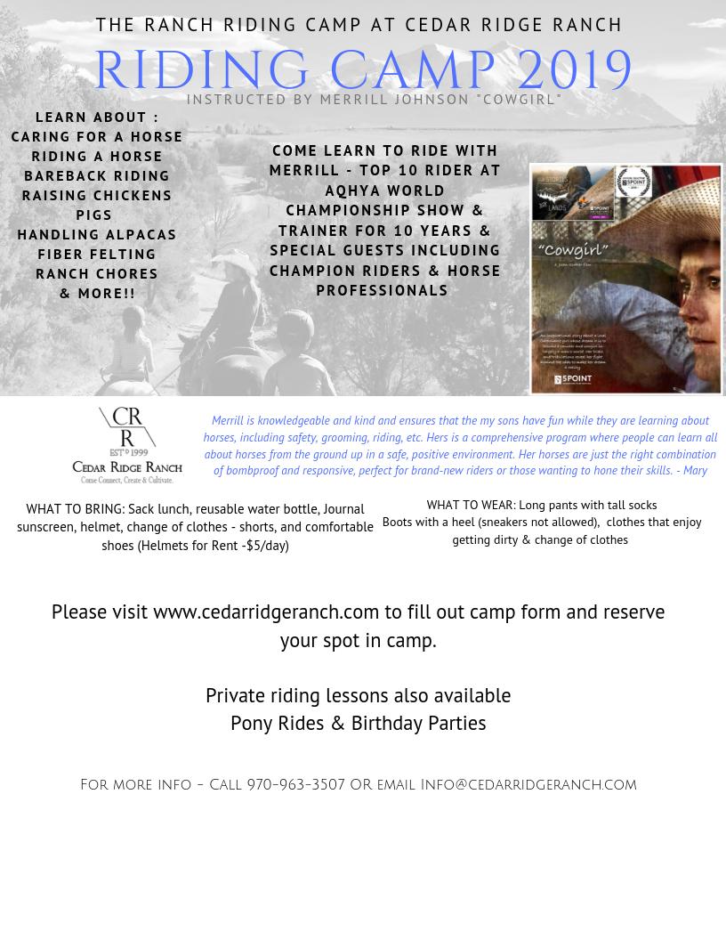 Riding Camp — Cedar Ridge Ranch