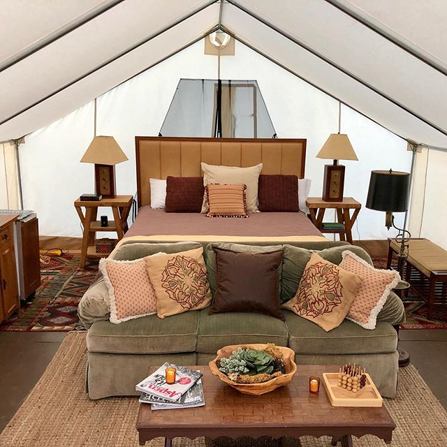 "Our ""Stargazer"" tent has a whole new interior. It is filled with special pieces from all over the valley. This is our tent for families and friends as it has a king size bed and two trundles, sleeping 6 people. What a fun girl's weekend on the ranch. You can ride horses, and have a yoga class with our alpacas and have a private chef come and prepare dinner straight from the farm. #sustainabletourism #glamping #glampinghub #thebucketlistfamily #alpacayoga #agritourism #hipcamp #horsebackriding"