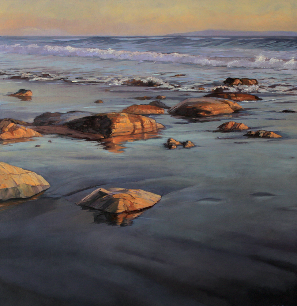 Wet Sand at Thousand Steps, 16x16, oil on board, sold.