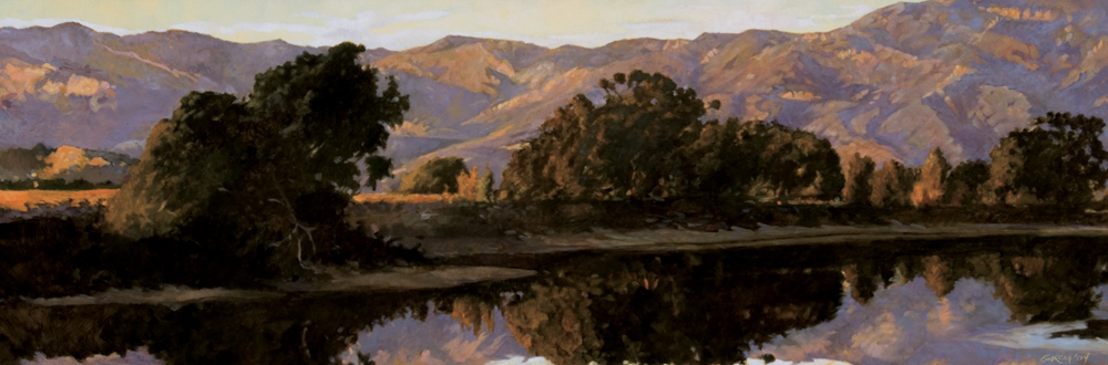 Devereau at Dusk, 12x36, oil on canvas, sold.
