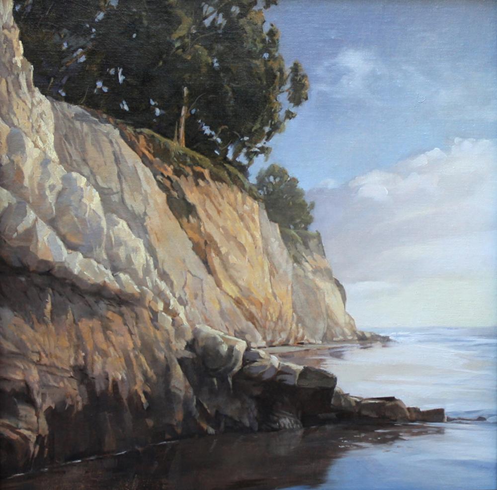 Early Winter Morning, Shoreline, 14x14, oil on linen, sold.