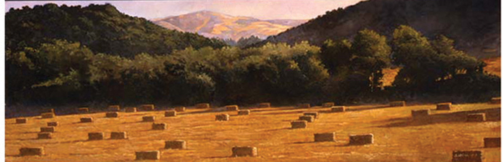 Haybales Near Lompoc, 12x36, oil on canvas, sold.