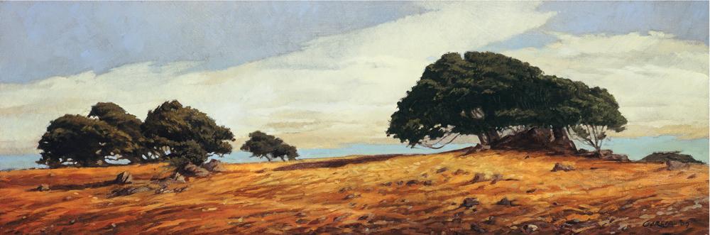 Lucas Valley Road, 12x36, oil on canvas, sold.
