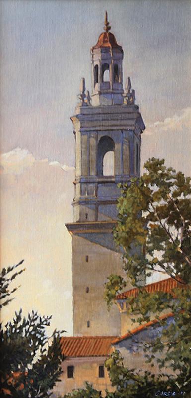 Morning Light on the Seminary, 20x10, oil on linen, sold.