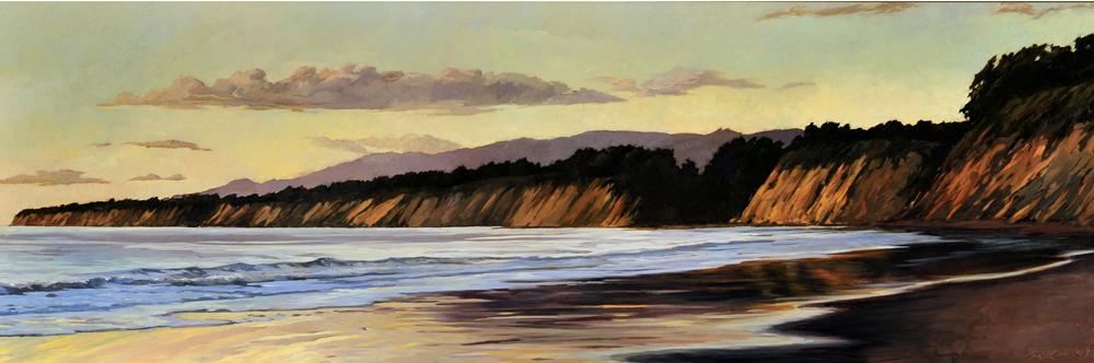 Naples Coastline, 12x36, oil on canvas, sold.