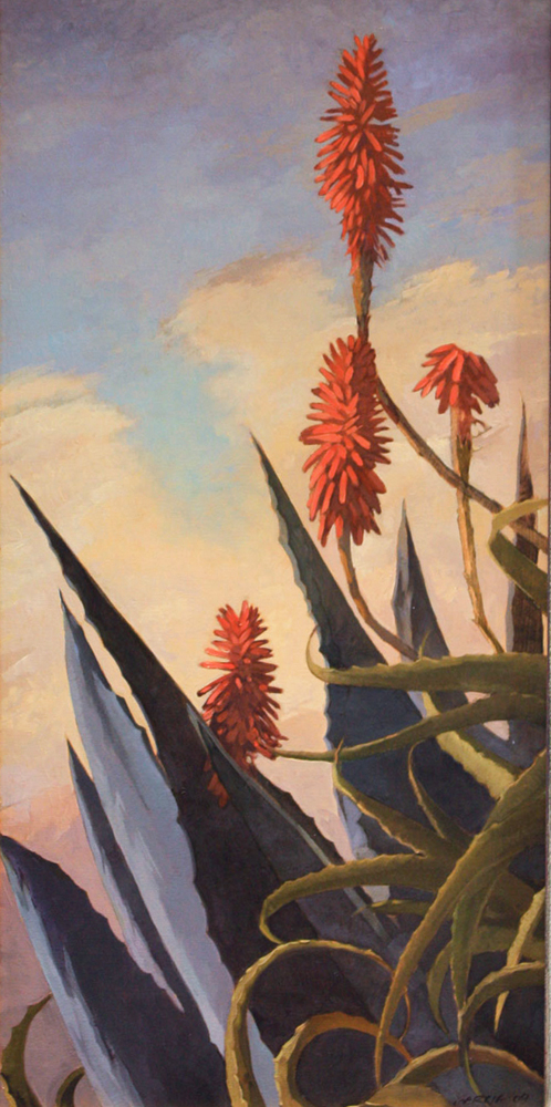 Agave and Aloe, 24x12, oil on canvas, sold.