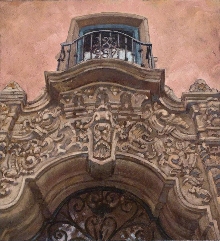 Architectural-Design-of-Reginald-Johnson-Music-Academy, oil on paper, sold.