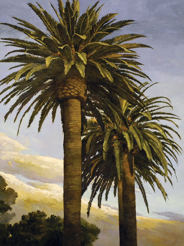 Canary Palms at Dusk, 36x48, oil on canvas, sold.
