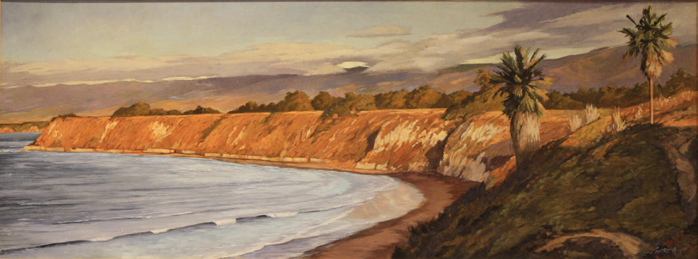 Sunrise at Goleta Bluffs, 24x48, oil on canvas, sold.