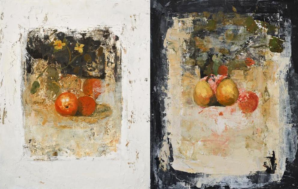 """""""Still life"""" & """"Still life II"""", oil &wax on wood,19 3/4"""" x 15 3/4"""""""