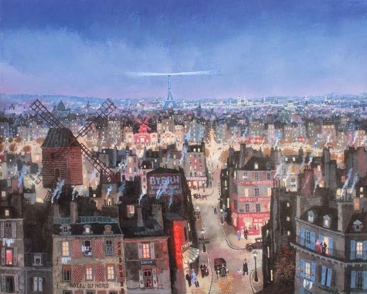 "Soir de Paris, acrylic on canvas, 24"" x 30"""
