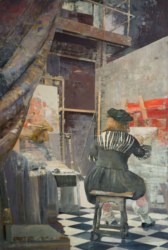 Vermeer at Work, oil and silver on canvas, 76x31 in copy.jpg
