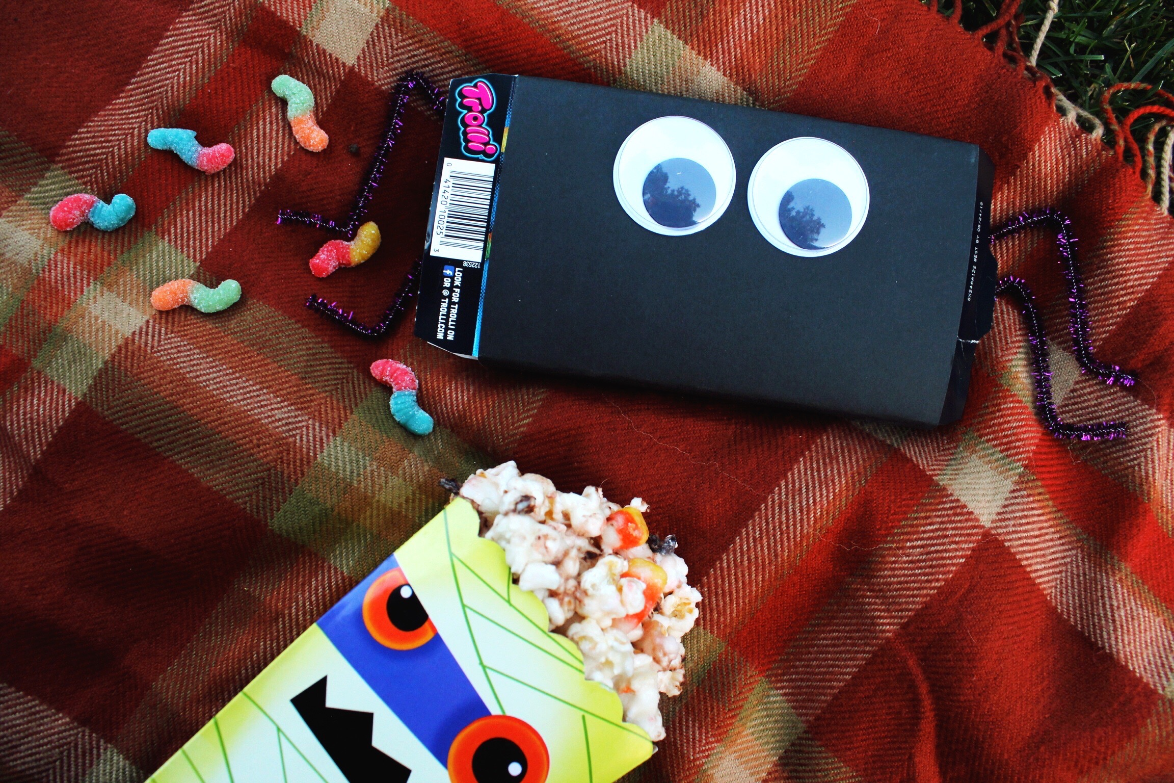 Halloween Outdoor Movie Night Snacks Popcorn Sour Gummy Worms Blanket Design Organize Party