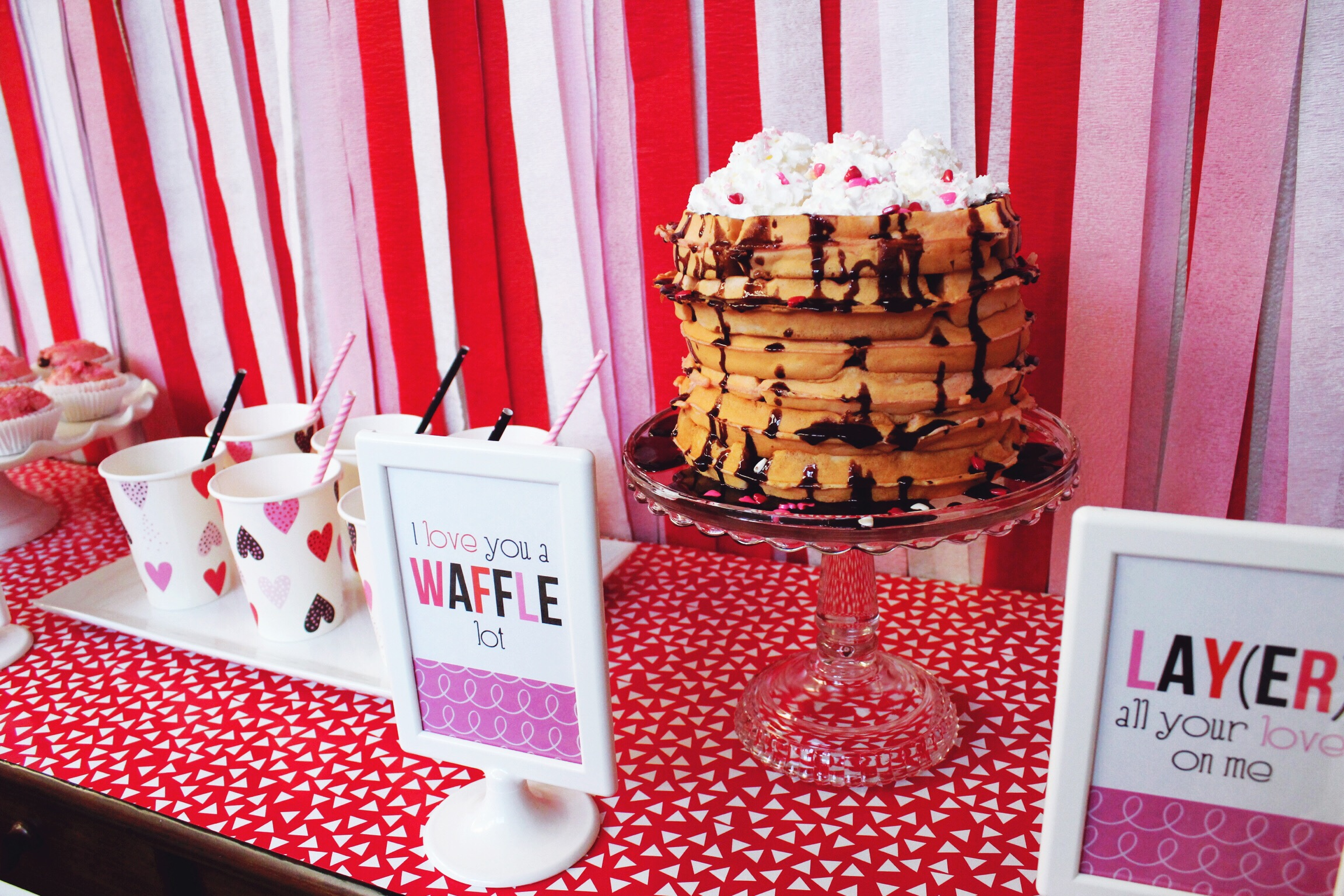 Deisgn Organize Party_Valentine's Day Breakfast Party Ideas Inspiration_Waffles_Milk_Hearts.JPG