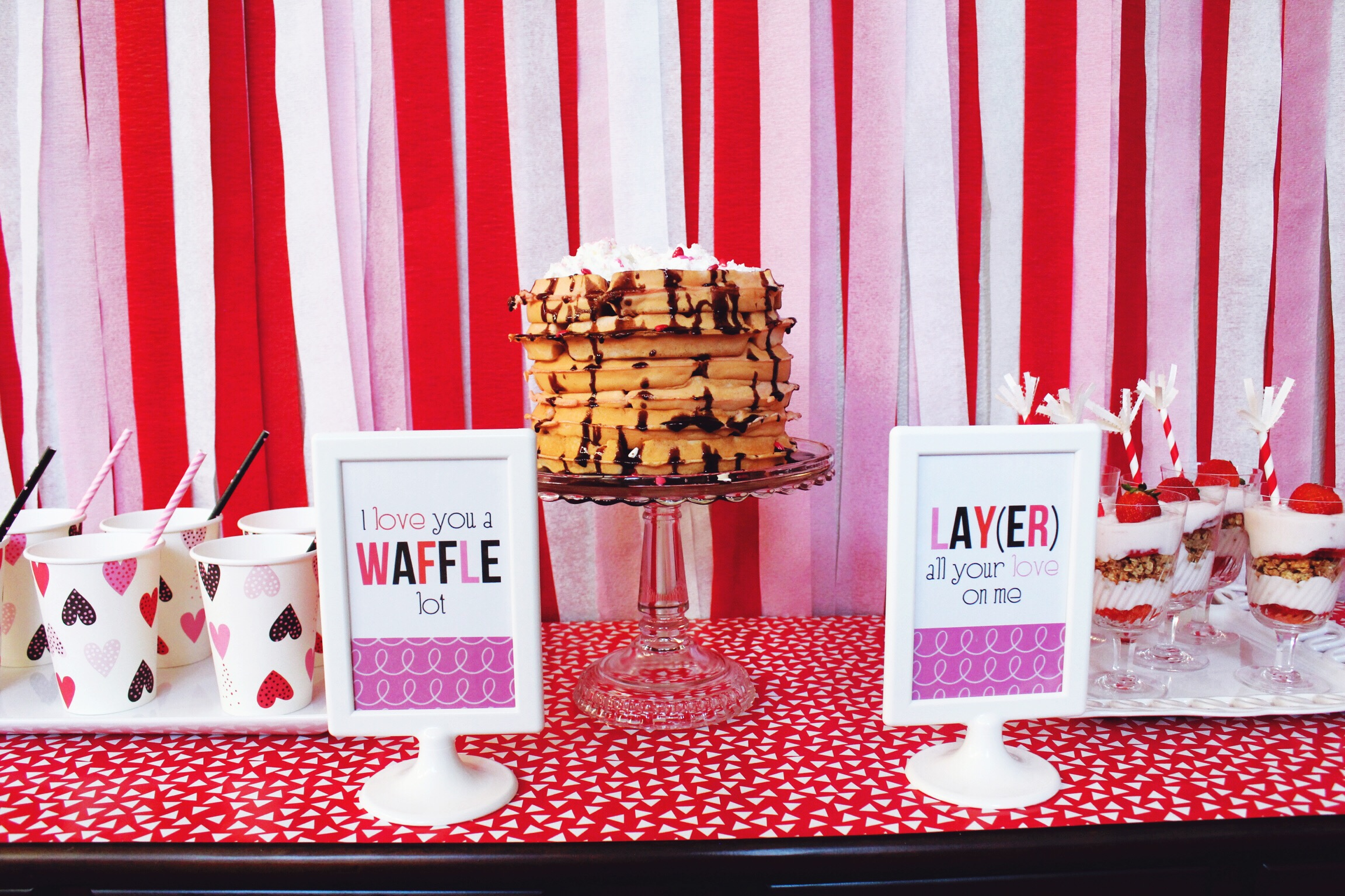 Valentine's Party Inspiration Ideas_Brekfast Brunch_Waffles_Parfaits_Pink_Design Organize Party.JPG