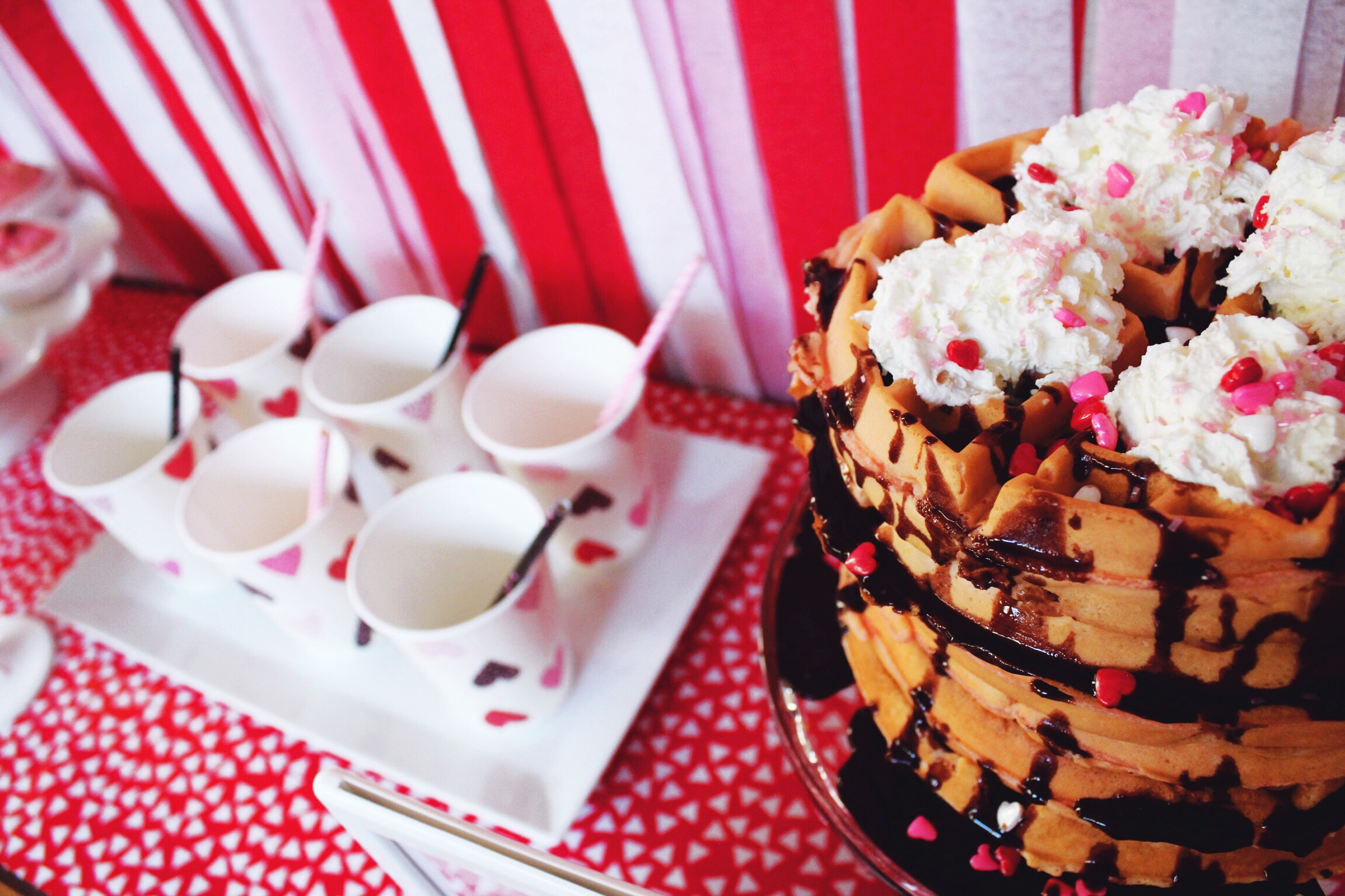 Valentine's Day Breakfast Party Inspiration_Waffles_Whipped Cream_Design Organize Party.JPG